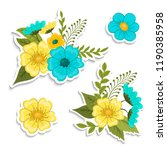floral composition. set made of ... | Shutterstock .eps vector #1190385958