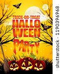 halloween hand drawn invitation ... | Shutterstock .eps vector #1190396968