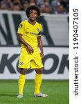 Small photo of Thessaloniki, Greece - Sept 20, 2018: Player of Chelsea Willian Borges da Silva in action during the UEFA Europa League between PAOK vs FC Chelsea played at Toumba Stadium