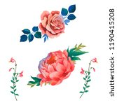 watercolor flowers of peony and ... | Shutterstock . vector #1190415208