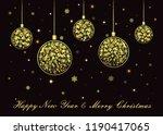 vector golden christmas balls... | Shutterstock .eps vector #1190417065