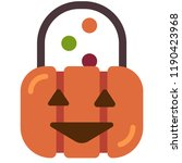 pumpkin candy bucket with candy ... | Shutterstock .eps vector #1190423968