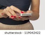 Woman With Smartphone Sends A...