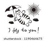 cartoon comic cat with an... | Shutterstock .eps vector #1190464675
