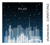 winter night in milan. night... | Shutterstock .eps vector #1190471962