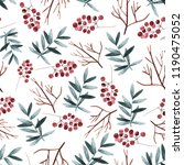 watercolor pattern with leaves  ... | Shutterstock . vector #1190475052
