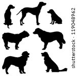 Stock vector dogs silhouettes 119048962