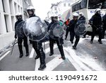 Small photo of Brussels, Belgium. 28th Sep. 2018. Firefighters and workers from public sector scuffle with riot police during a protest against planned pension reforms.