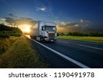 white trucks arriving on the... | Shutterstock . vector #1190491978