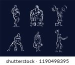 sport. sporty and athletic man. ... | Shutterstock .eps vector #1190498395