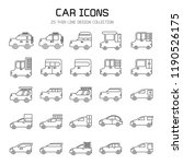 car and vehicle icon set  line... | Shutterstock .eps vector #1190526175
