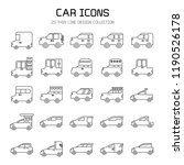 car and vehicle icon set  line... | Shutterstock .eps vector #1190526178