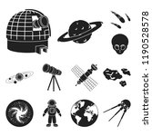 space technology black icons in ... | Shutterstock .eps vector #1190528578