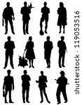 collection of silhouettes of... | Shutterstock .eps vector #119053516