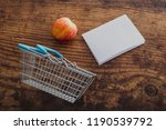 apple and shopping basket with... | Shutterstock . vector #1190539792