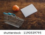 apple and shopping basket with... | Shutterstock . vector #1190539795