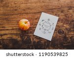 apple and healthy food note on... | Shutterstock . vector #1190539825