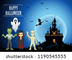 happy halloween background with ... | Shutterstock . vector #1190545555