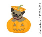 cute pug puppy is sitting in a... | Shutterstock .eps vector #1190554795