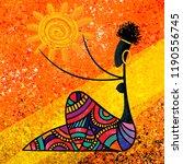 african girl holds the sun... | Shutterstock . vector #1190556745