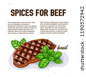 culinary spice for beef  basil  ... | Shutterstock .eps vector #1190572942