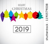 2019 happy new year and marry... | Shutterstock .eps vector #1190579038