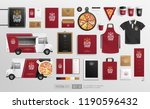 realistic food truck  pizzeria... | Shutterstock .eps vector #1190596432