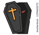 a coffin with red eye inside... | Shutterstock .eps vector #1190603272
