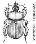 scarab beetle tattoo. dot work... | Shutterstock . vector #1190610655
