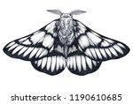 hand drawn butterfly tattoo.... | Shutterstock . vector #1190610685