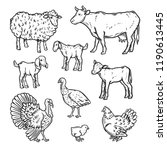 farm animals detailed icon set. ... | Shutterstock . vector #1190613445