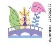 woman standing on the bridge... | Shutterstock .eps vector #1190662372
