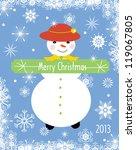 snow girl  greeting card | Shutterstock .eps vector #119067805