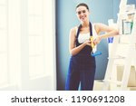 young woman portrait while... | Shutterstock . vector #1190691208
