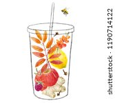 illustration of a glass with... | Shutterstock . vector #1190714122