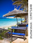 beach umbrella and chair and... | Shutterstock . vector #119071648