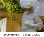 Edwardian Woman In White Dress