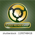 gold badge with brain storm... | Shutterstock .eps vector #1190748418