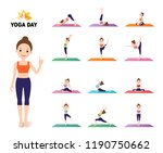 young female yoga instructor... | Shutterstock .eps vector #1190750662