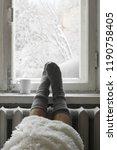 cozy winter still life  woman... | Shutterstock . vector #1190758405