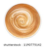 top view of hot coffee latte... | Shutterstock . vector #1190775142