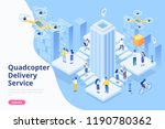 quadcopter delivery service... | Shutterstock .eps vector #1190780362