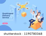 quadcopter delivery service... | Shutterstock .eps vector #1190780368