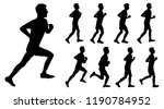 set of silhouettes guy runs | Shutterstock .eps vector #1190784952