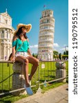 leaning tower of pisa  italy ... | Shutterstock . vector #1190795512