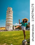 leaning tower of pisa  italy... | Shutterstock . vector #1190796175