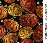 orange pumpkin and flowers... | Shutterstock .eps vector #1190801725