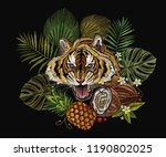 embroidery tiger in the jungle  ... | Shutterstock .eps vector #1190802025