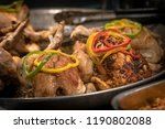 roasted chickens and vegetables ... | Shutterstock . vector #1190802088
