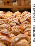 fresh croissant in bakery and... | Shutterstock . vector #1190810512